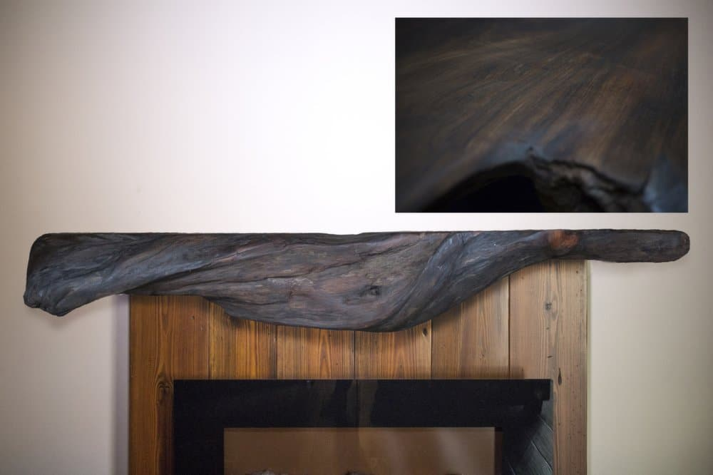 Rustic Curly Redwood Driftwood Fireplace Mantel | Littlebranch Farm