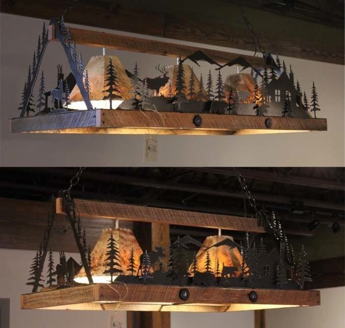 Rustic salvaged barnwood lighting