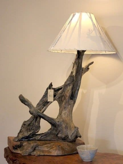 Natural rustic redwood driftwood lamp