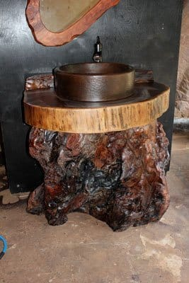 redwood burl vanity