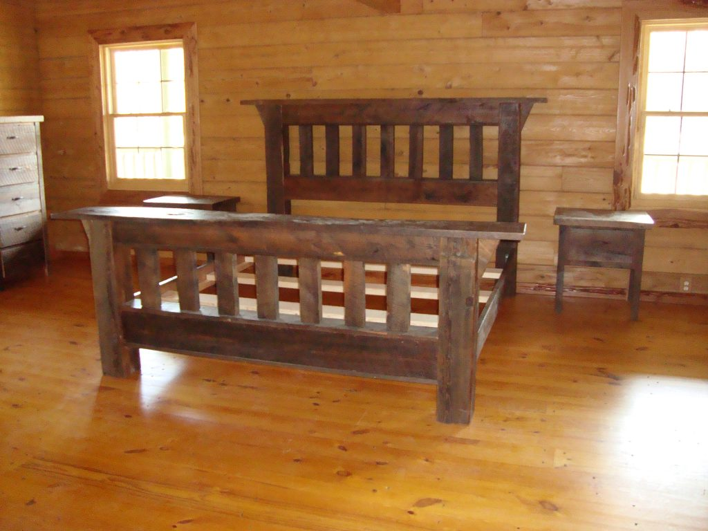 rustic recovered barn wood bed